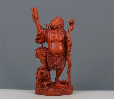 Chinese Exquisite Hand-carved the ancients carving Boxwood statue-1