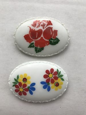 Vintage Lot Of Two Czech Oval Milk Glass Brooches Pin With Flower Rose Design