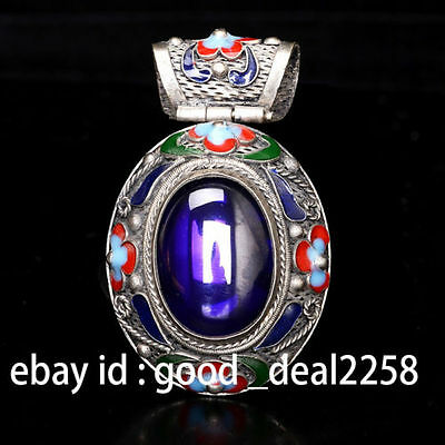 Rare China Silver Old Inlay Violet Zircon Cloisonne Collect Hand Carved Pendant
