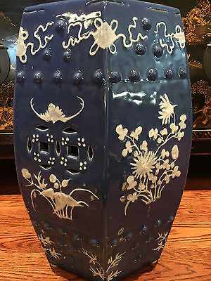 Antique Chinese Blue and White Glazed Porcelain Hexagonal Garden Seat.