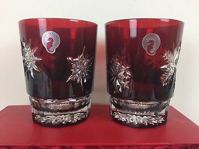 2 Waterford Ruby Snow Crystals Double Old Fashioned Glasses NIB Cased Crystal