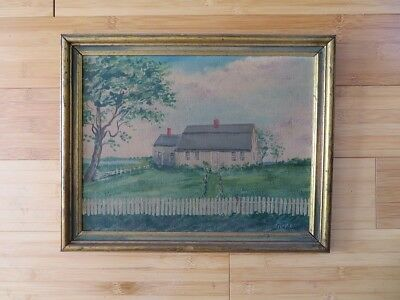 Antique Folk Art Oil Painting Landscape Shabby Chic Frame Signed Original