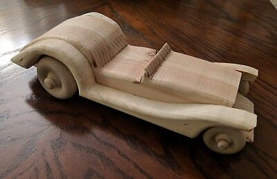 Vintage Style Handmade Wooden Toy Old Fashioned Car