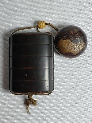 Antique Wooden Lacquer Inro Netsuke Ojime Japan 19th Meiji Period