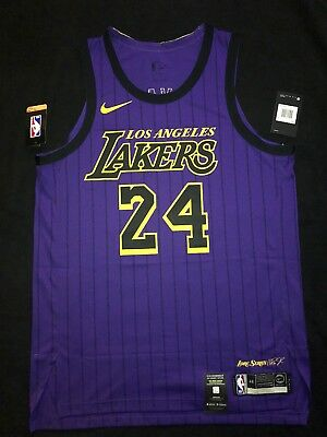 KOBE BRYANT  24 City Edition Authentic L.A Lakers Size L(48) 100 ... 5a1673477