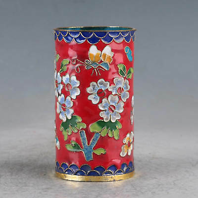 Chinese  Cloisonne Hand-made Flowers Brush Pots JTL1014.b