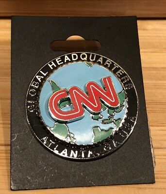 CNN Headquarters Atlanta Lapel Pin Spinning Globe Enamel/Silver Tone Retired NEW