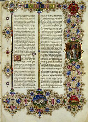 Bible of Borso d'Este JUDITH  Illuminated Manuscript - Gold Accents. NEW