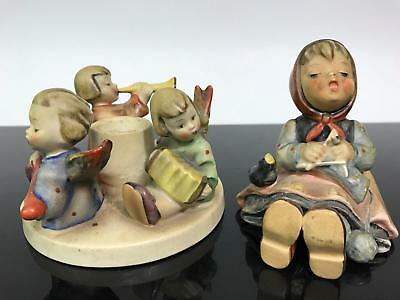 Vtg 2pc Lot Goebel HUMMEL Germany Candle Statue Figurines - Chipped