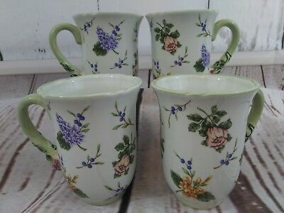 Princess House Vintage Garden Mugs 12 oz Coffee Cups Lot of 4 Floral Pattern