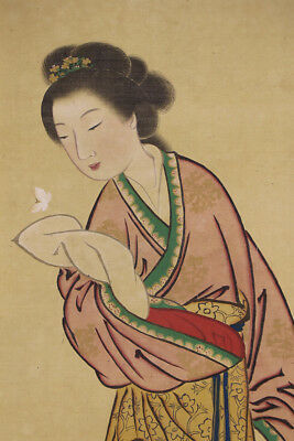 """JAPANESE HANGING SCROLL ART Painting """"Chinese Beauty"""" Asian antique  #E4481"""
