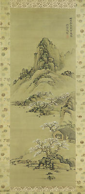 JAPANESE HANGING SCROLL ART Painting Sansui Landscape  #E4507