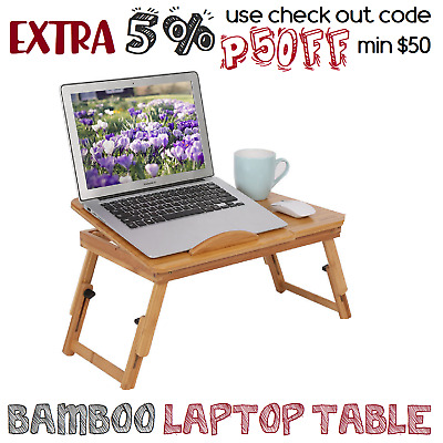 Bamboo Laptop Table Folding Writing Stand Desk Tray Reading AU Notebook Bed Book