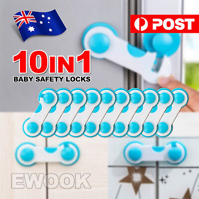 10x Child Kids Baby Safety Lock For Door Drawers Cupboard Cabinet Adhesive NEW