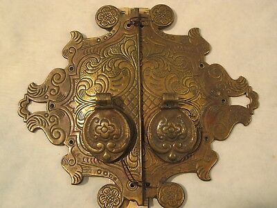 Antique Vintage Door Cabinet Pull Solid Brass Real Patina