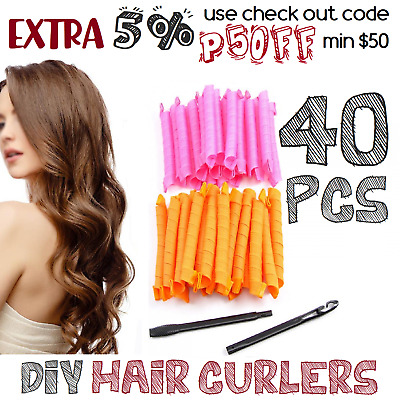 Rollers Curler 40PCS DIY Leverage Magic Styling Spiral Long Formers Hair Curlers