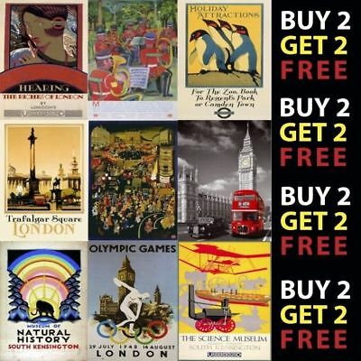 Vintage London Underground Railway Uk Retro Travel A4 A3 Posters 40 Designs