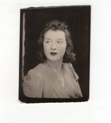 Vintage Photo Booth Photo Pretty Young Woman Nov18