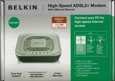 BRAND NEW Belkin High Speed ADSL2+ Modem with 4 Ports Ethernet and USB