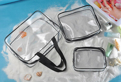 Portable Clear Travel Cosmetic Make Up Case Transparent PVC Toiletry Storage Bag