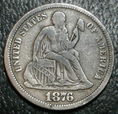 1876-CC Seated Liberty Dime Arrows F/VF ~ Nice Original Coin No Problems