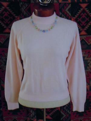 VINTAGE 1950s 1960s BABY PINK SOFT ACRYLIC ROCKABILLY MOD FITTED PINUP SWEATER M