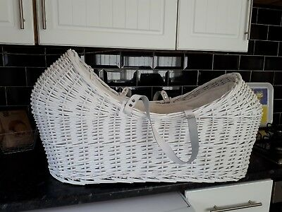 Claire De Lune White Wicker Noah Pod  Basket With Stand.
