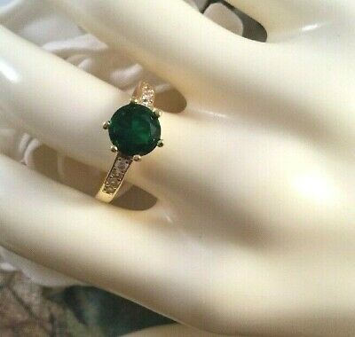 Vintage Jewellery Gold Ring Emerald and White Sapphires Antique Dress Jewelry