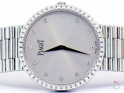 Piaget 18K Traditional Mecanique Men's Watch With Diamond Dial & Bezel G0A37045