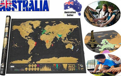 2018 Scratch Off World Map Deluxe Travel Log Journal Poster Wall Decor Atlas AU