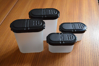 Tupperware Modular Mates Spice Containers Black Lid -  2 Small 2 Large