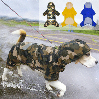 Reflective Rain Coat Dog Hooded Lightweight Jacket Waterproof Pet Raincoat S-2XL