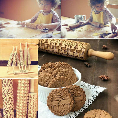 Laser Engraved Pastry Cake Baking Toll Stick Wooden Dough Roller Rolling Pin New