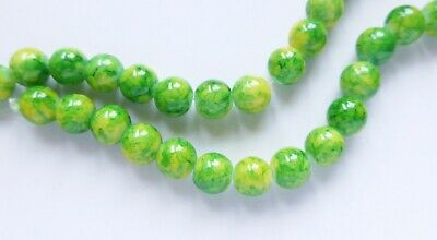 Glass Beads - Drawbench Marble Pattern - 6mm 8mm/2mm hole - Various Colours x 50