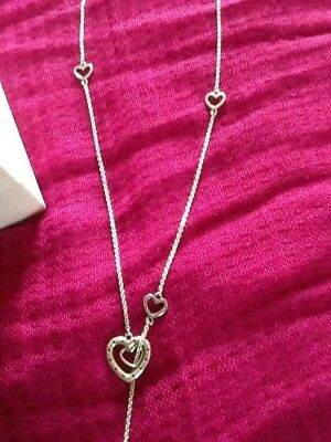 d46b4fb69a589 SILVER PANDORA BRIGHT Hearts Necklace . Boxed .