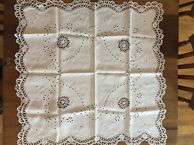 Vintage Beautiful Crisp White Hand made Lace Tablecloth