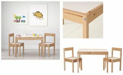 IKEA LATT Children's Table with 2 Chairs Wooden Pine Wood Kids Furniture Sets