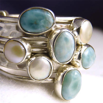 7-STACK Size US 6 (M) SILVERSARI Solid 925 Sterling Silver LARIMAR/PEARL STR1002
