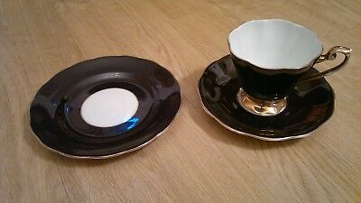 RARE Royal Standard china, black/harlequin, trio - cup, saucer, plate - 1940's?
