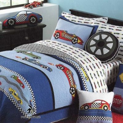 Boys Reversible Quilted Cotton Patchwork Coverlet Bedspread Quit Single