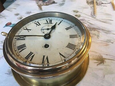 Original Brass Ships Bulkhead 8 Day Clock Smiths English Clocks