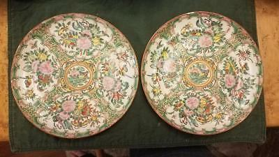 """Antique Chinese Porcelain Rose Medallion plate 8"""" Gold center and spokes pair"""