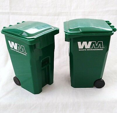 "Waste Management Garbage Trash Can 5"" Recycle Bin Desktop Promo Toy - Set of 2"