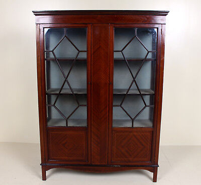 Antique Victorian Glazed Bookcase Display Cabinet Inlaid Mahogany Astragal Glass