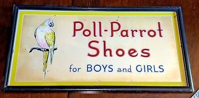 """POLL PARROT Shoes Advertising Sign Mirror 21"""" Vintage Original"""