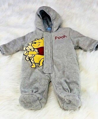 Disney baby sz 03/m gray fleece lined one piece hooded bunting winnie the pooh