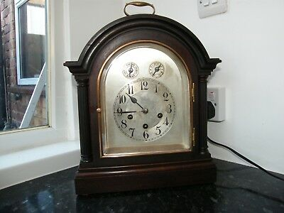 Superb Junghams B12 mahogany striking chiming bracket clock working TLC required