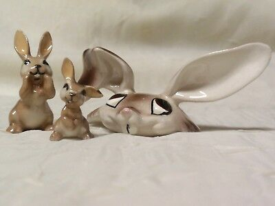 3 Vintage  Miniature Ceramic Rabbit Figurines