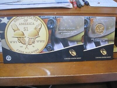 2016 American $1 Coin & Currency Set / CODE TALKERS / ENHANCED COIN