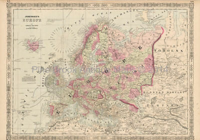 European Continent Antique Map Johnson 1864 Original Decor History Gift Ideas